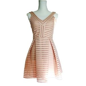 Forever 21 Laser Cut Pink A-Line Dress Small